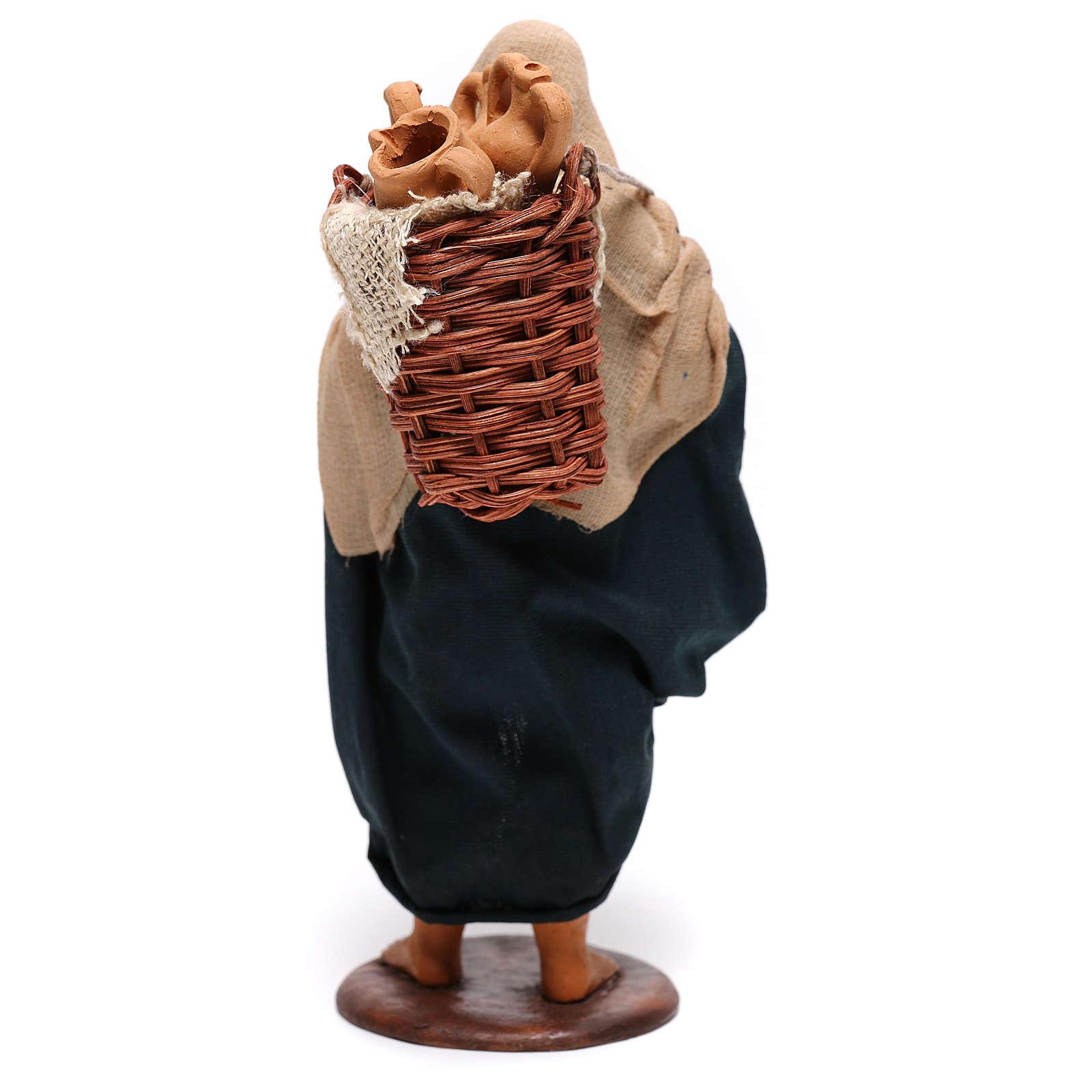 Hombre con ánforas en las cestas belén de Nápoles 14 cm de altura media 4