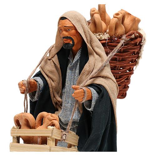 Hombre con ánforas en las cestas belén de Nápoles 14 cm de altura media 2