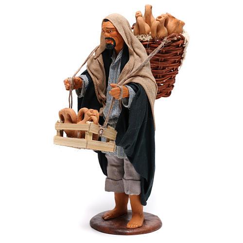 Hombre con ánforas en las cestas belén de Nápoles 14 cm de altura media 3