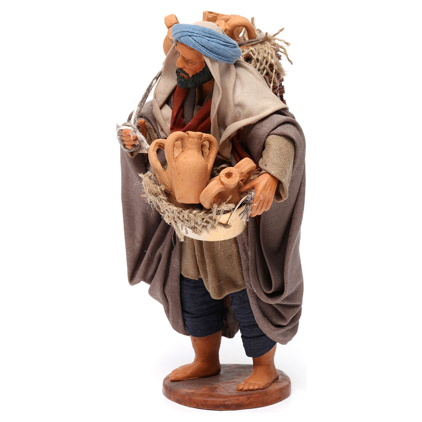 Man with amphoras Neapolitan nativity figurine 14 cm 4