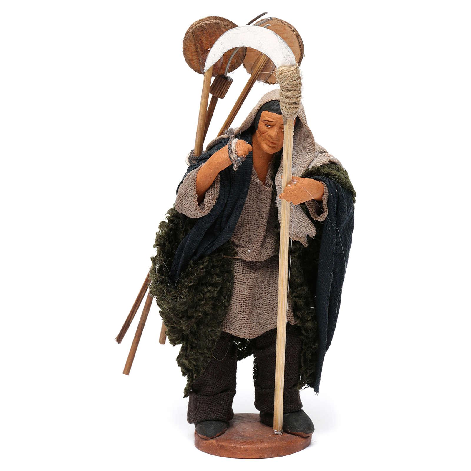 Uomo con attrezzi presepe napoletano 12 cm 4