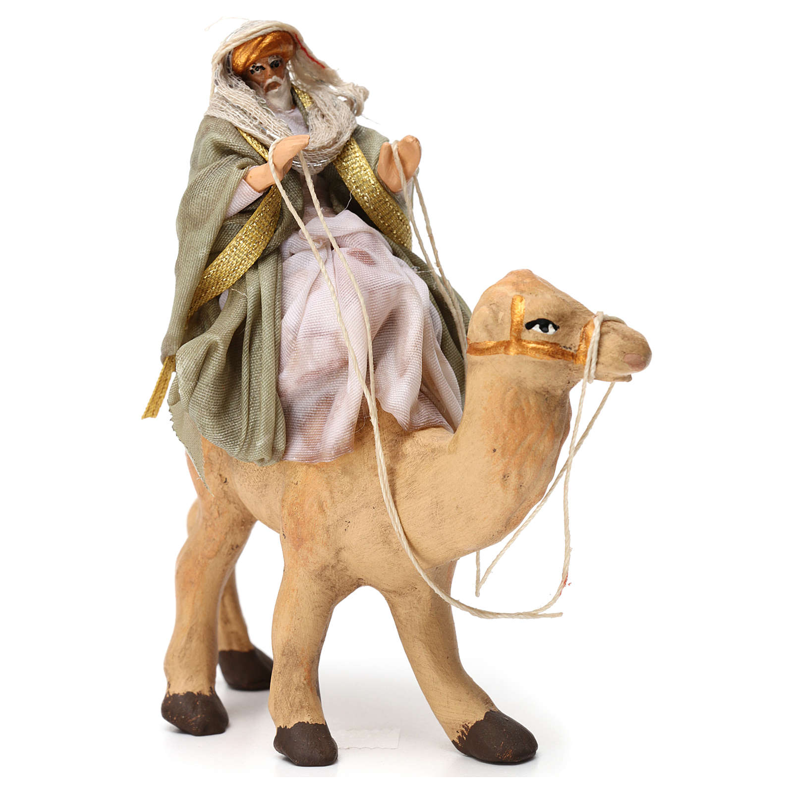 Re magio sul cammello in terracotta per presepe Napoli 6 cm 4