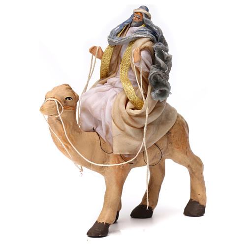 White Wise Man sitting on camel Neapolitan Nativity Scene 6 cm 1