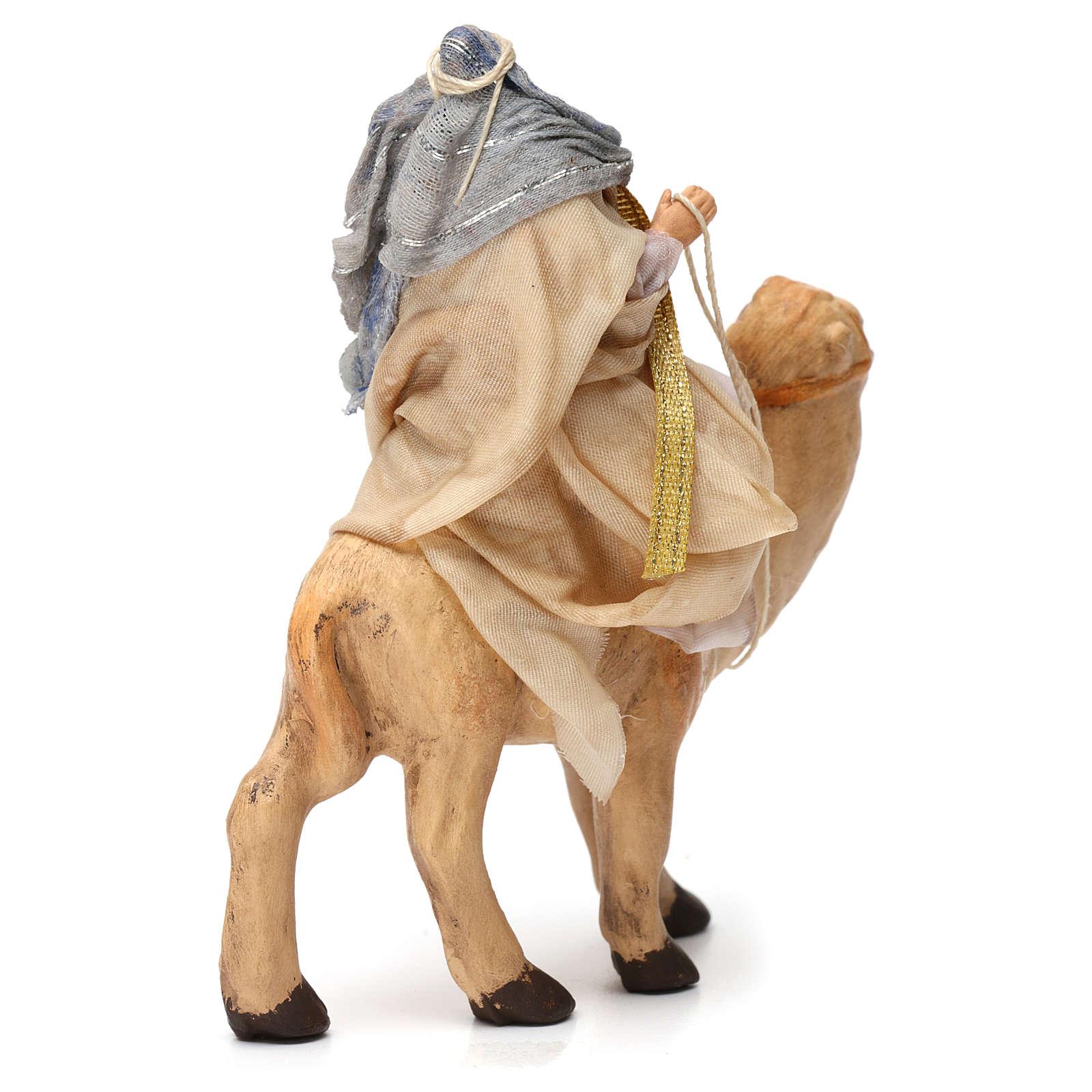 Roi Mage blanc assis sur chameau pour crèche Naples 6 cm 4