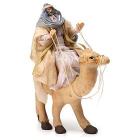 Re magio bianco seduto sul cammello per presepe Napoli 6 cm s2