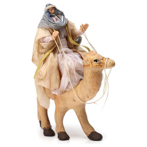 White Magi King sitting on a camel for Naples nativity 6 cm 2