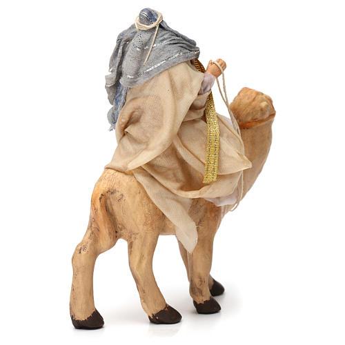 White Magi King sitting on a camel for Naples nativity 6 cm 3