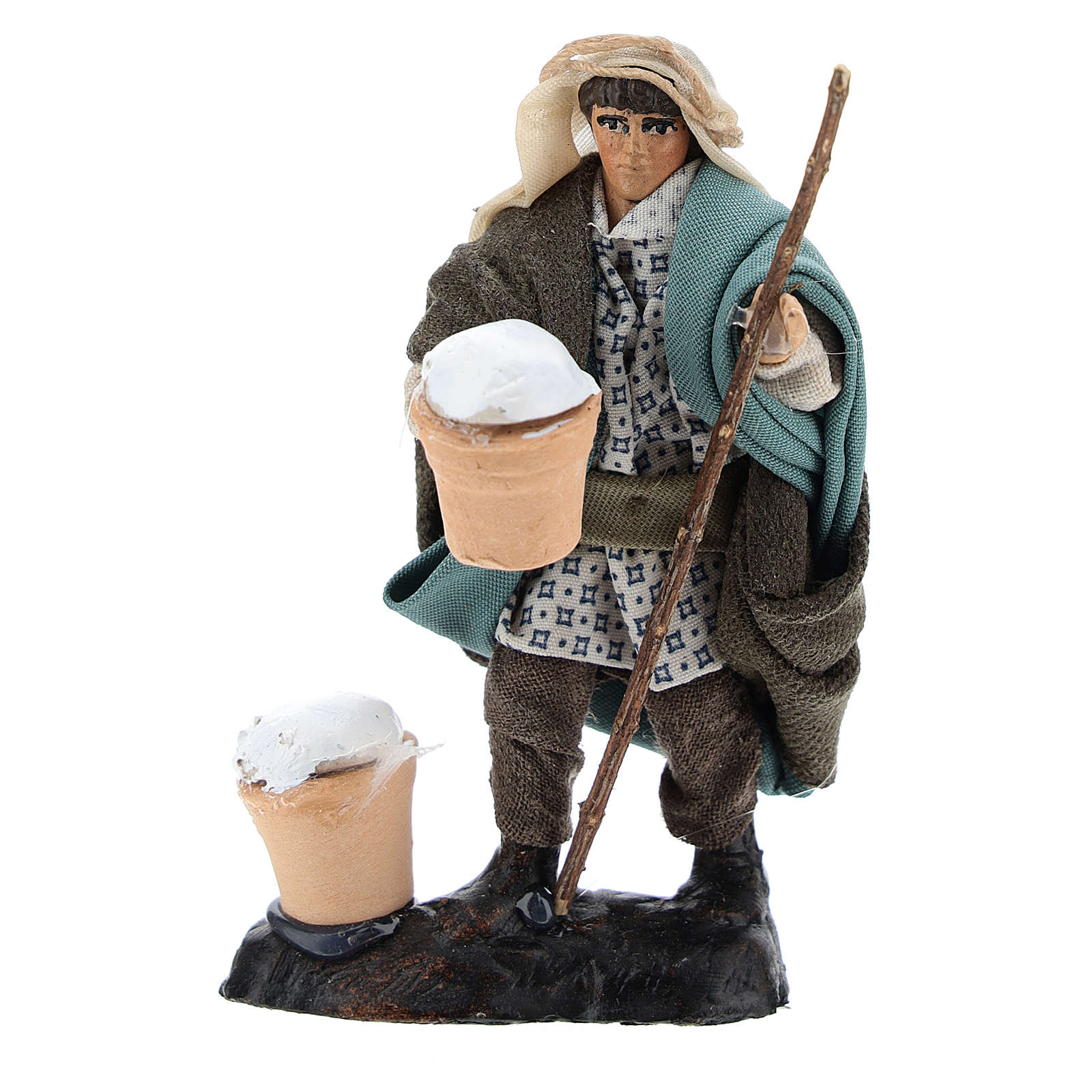 Man with Ricotta in Terracotta for nativity of 8 cm 4