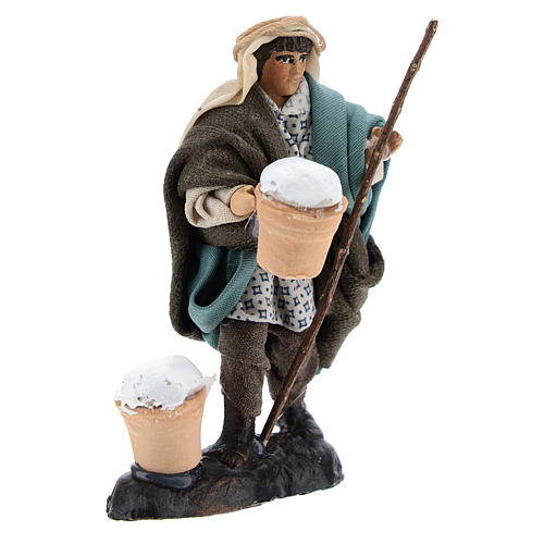 Man with Ricotta in Terracotta for nativity of 8 cm 3