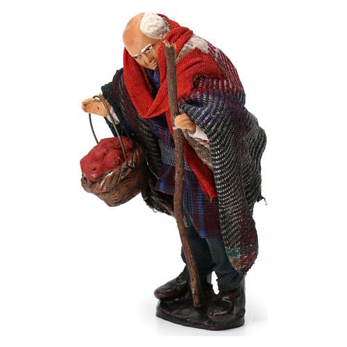 Hombre con cesta de fruta para belén napolitano 8 cm de altura media 2