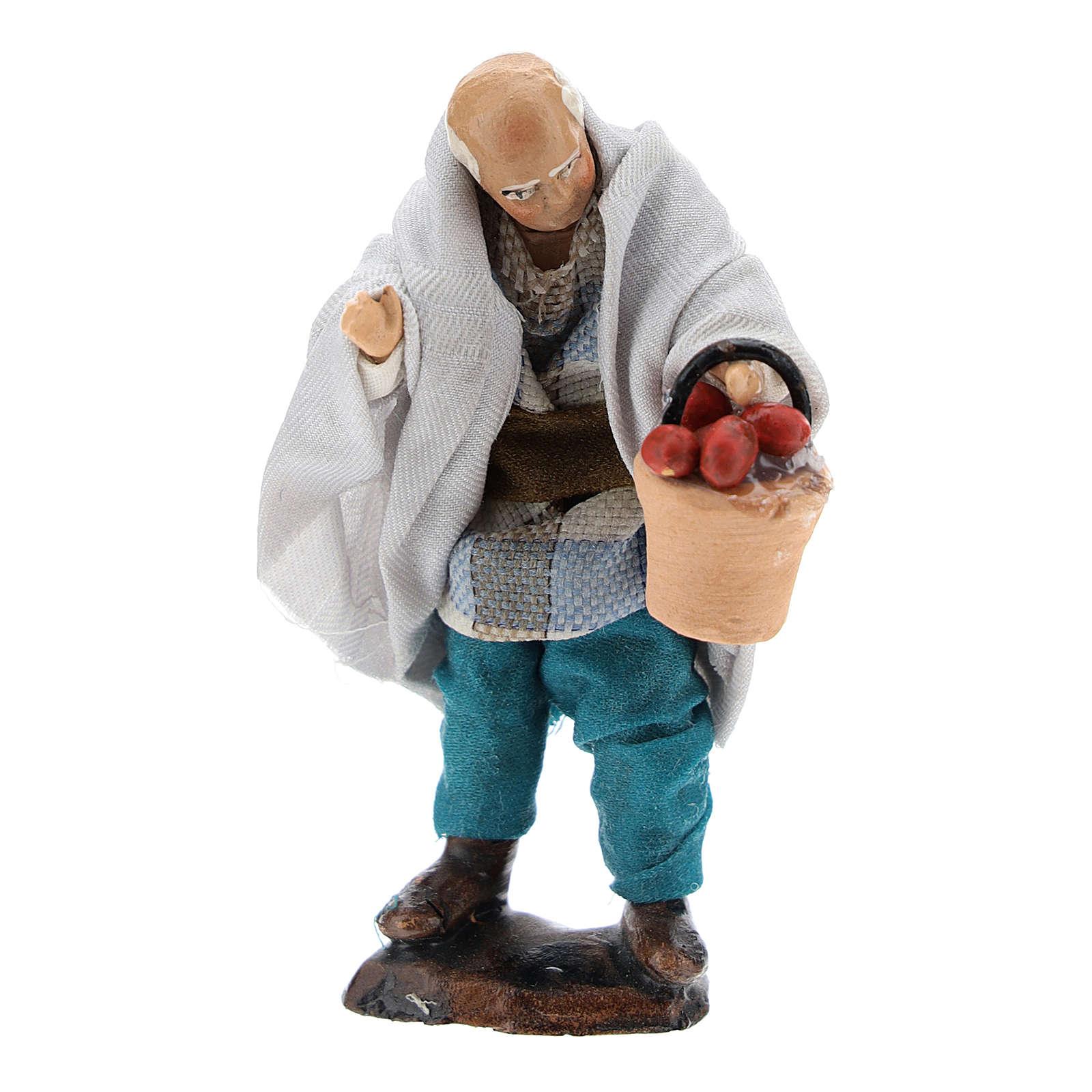 Homme avec panier de fruits pour crèche napolitaine 8 cm 4