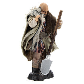 Farmer with Hoe for Neapolitan nativity of 8 cm s3