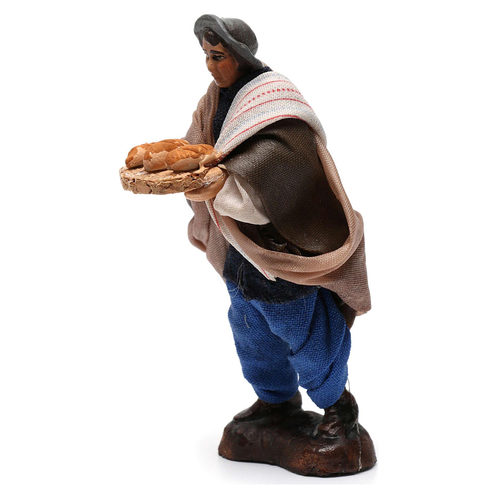 Man with bread Neapolitan Nativity Scene 8 cm 4