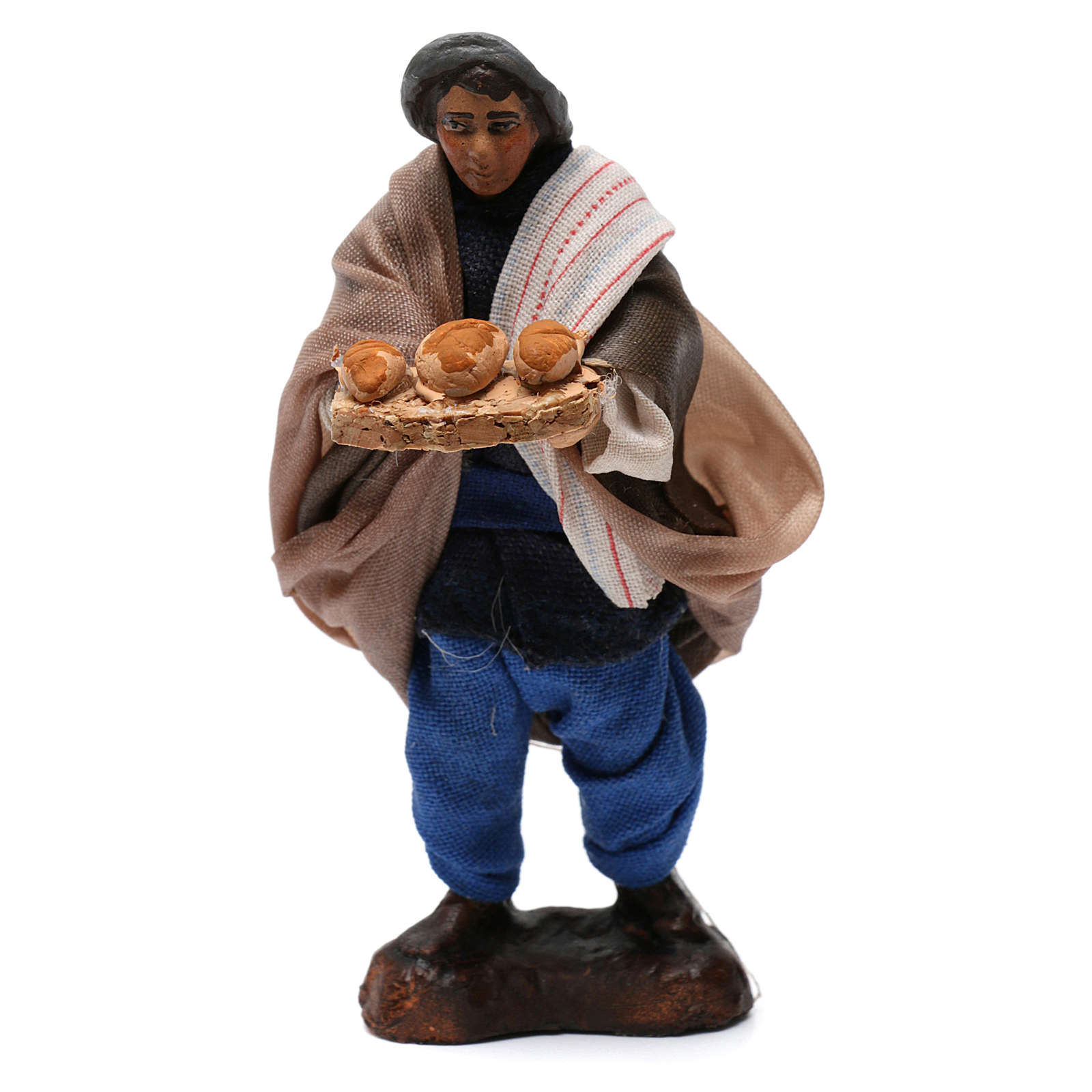 Hombre con pan para belén napolitano de 8 cm de altura media 4