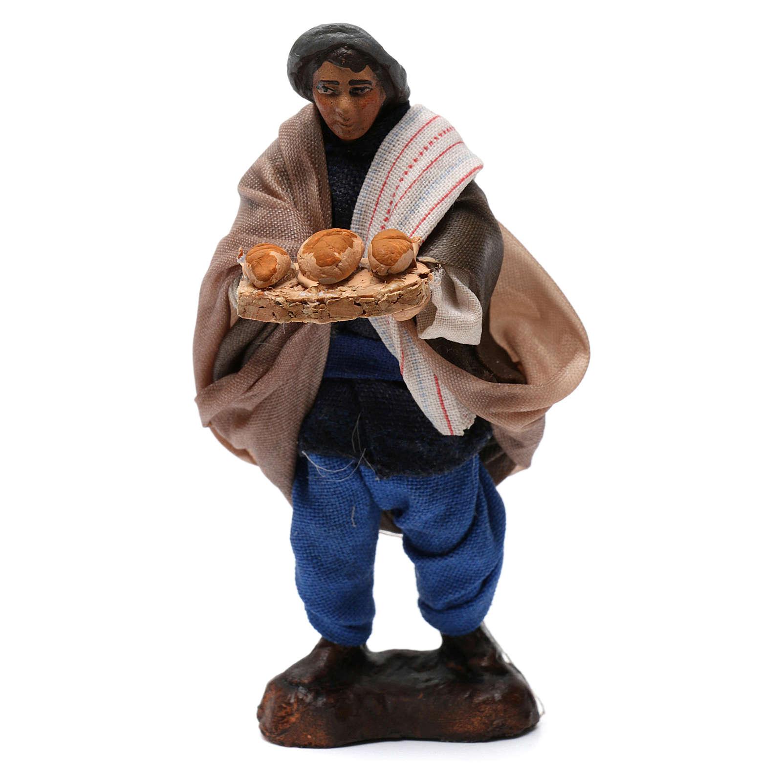 Homme avec pain pour crèche napolitaine de 8 cm 4