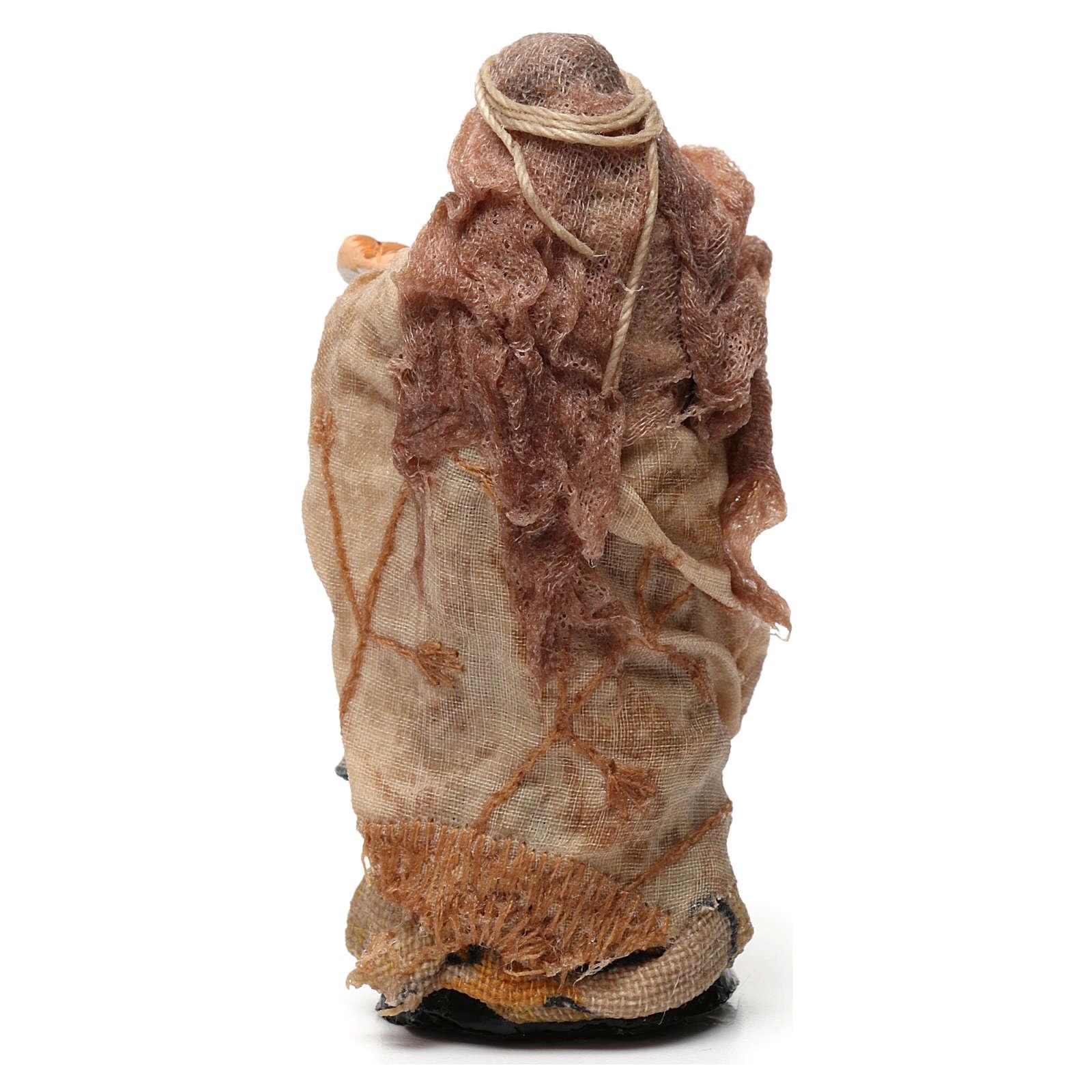 Vecchia con cesto di pane per presepe napoletano di 8 cm 4