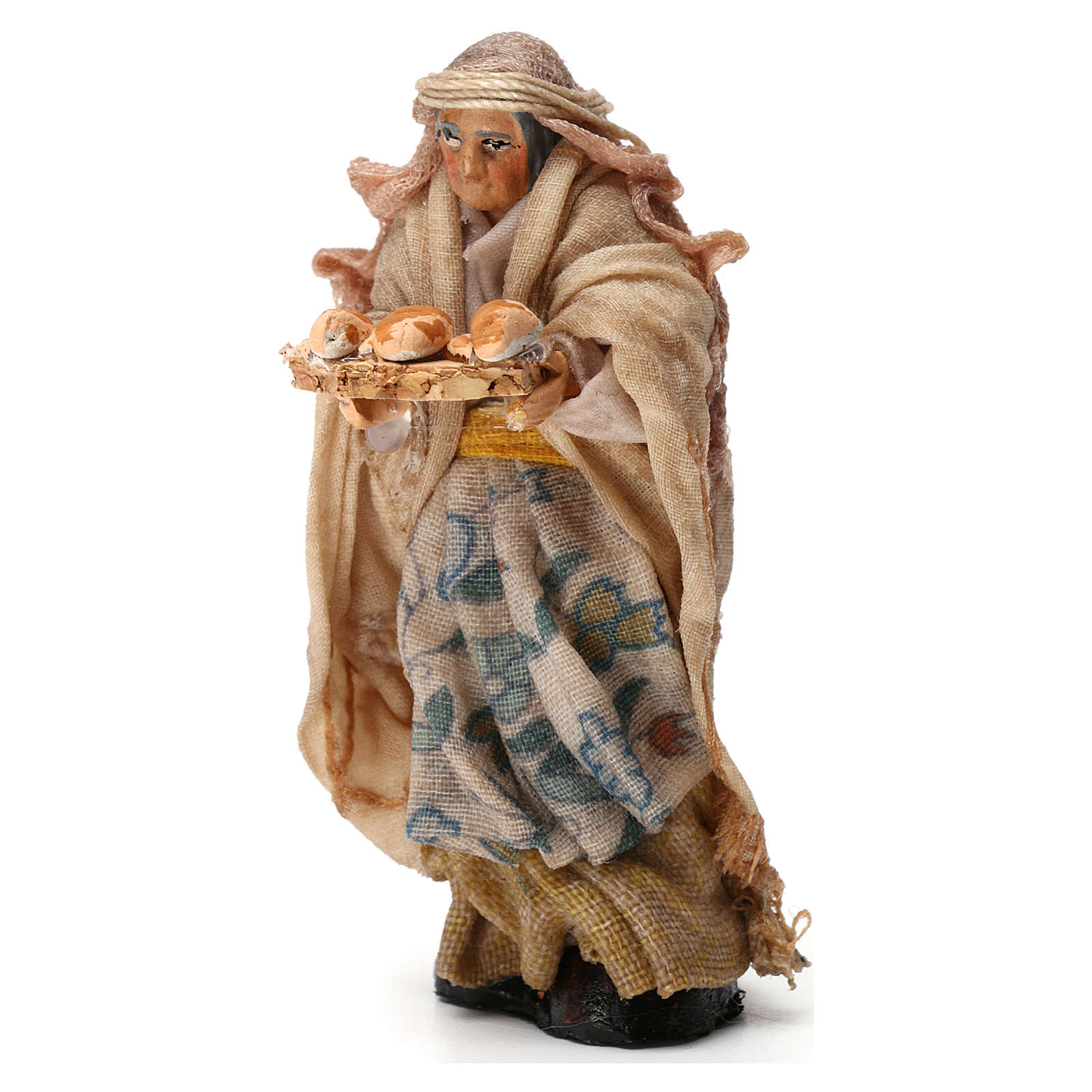 Elderly Woman with Bread Basket for Neapolitan nativity of 8 cm 4