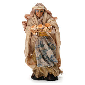 Elderly Woman with Bread Basket for Neapolitan nativity of 8 cm s1