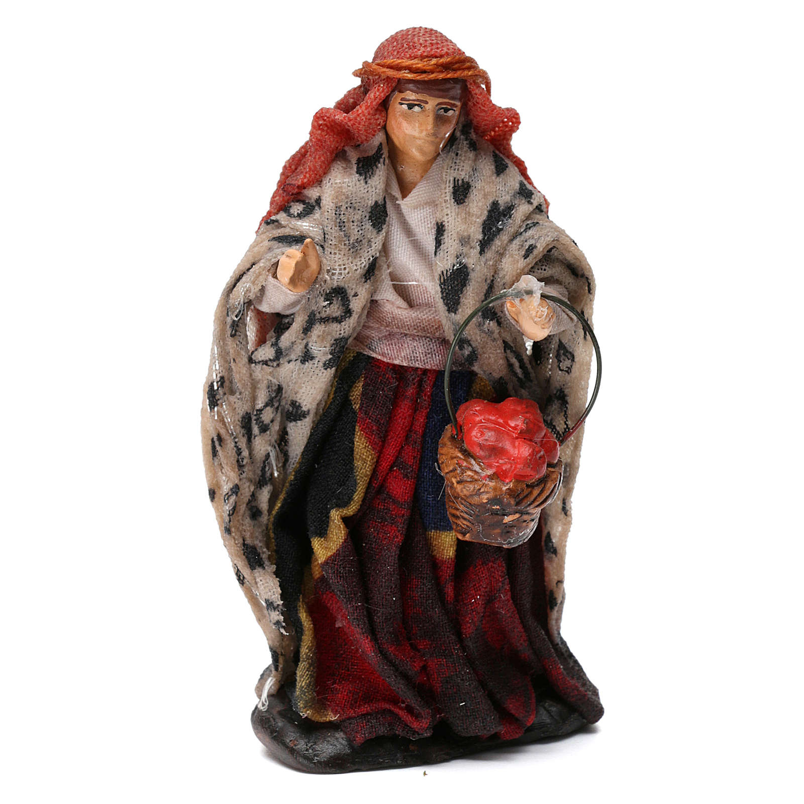 Woman Shepherd with Fruit Basket for 8 cm Neapolitan nativity 4