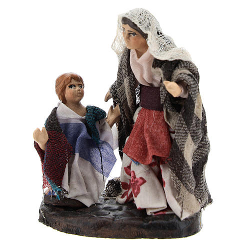 Woman with baby boy Neapolitan Nativity Scene 8 cm 1