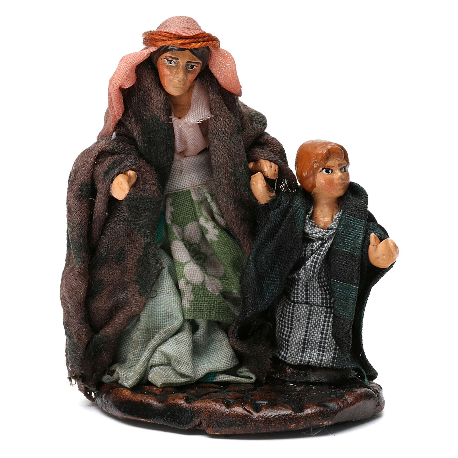 Woman with Boy for Neapolitan nativity of 8 cm 4