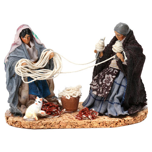 Working spinners Neapolitan Nativity Scene 8 cm 1