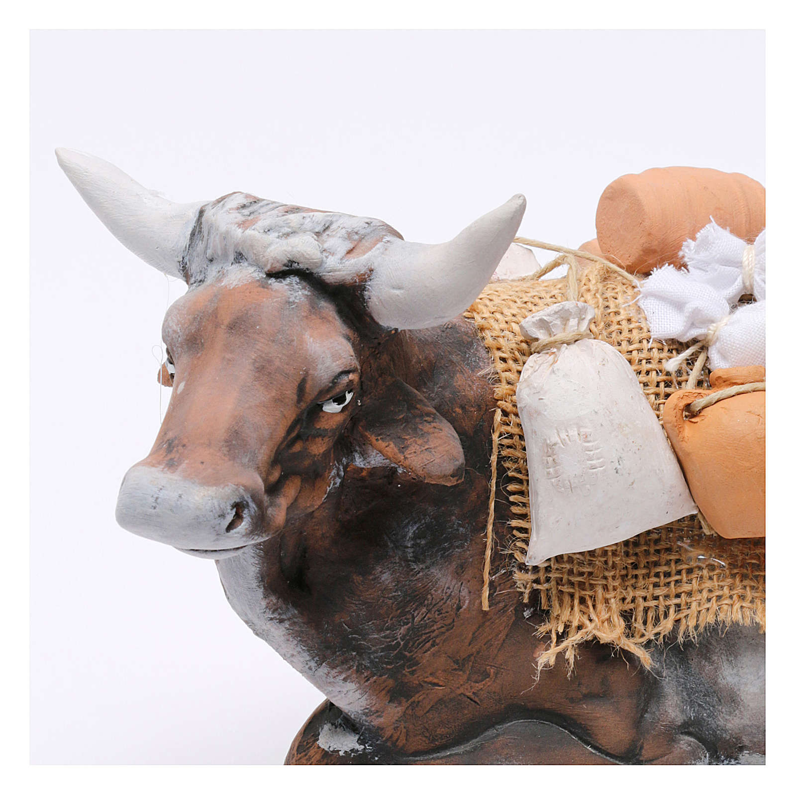 Ox harnessed for Neapolotian nativity style 700s of 35 cm 4