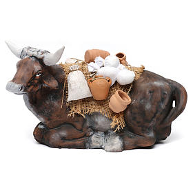 Ox harnessed for Neapolotian nativity style 700s of 35 cm s1