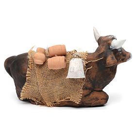 Ox harnessed for Neapolotian nativity style 700s of 35 cm s3