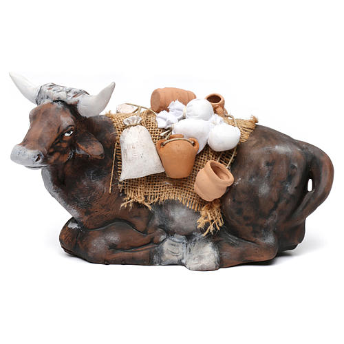 Ox harnessed for Neapolotian nativity style 700s of 35 cm 1