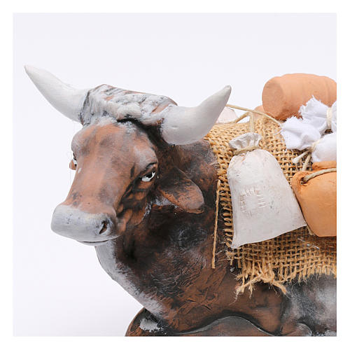 Ox harnessed for Neapolotian nativity style 700s of 35 cm 2