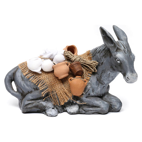 Donkey Carrying Objects for Neapolotian nativity style 700s of 35 cm 1