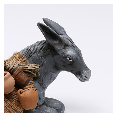 Donkey Carrying Objects for Neapolotian nativity style 700s of 35 cm 2