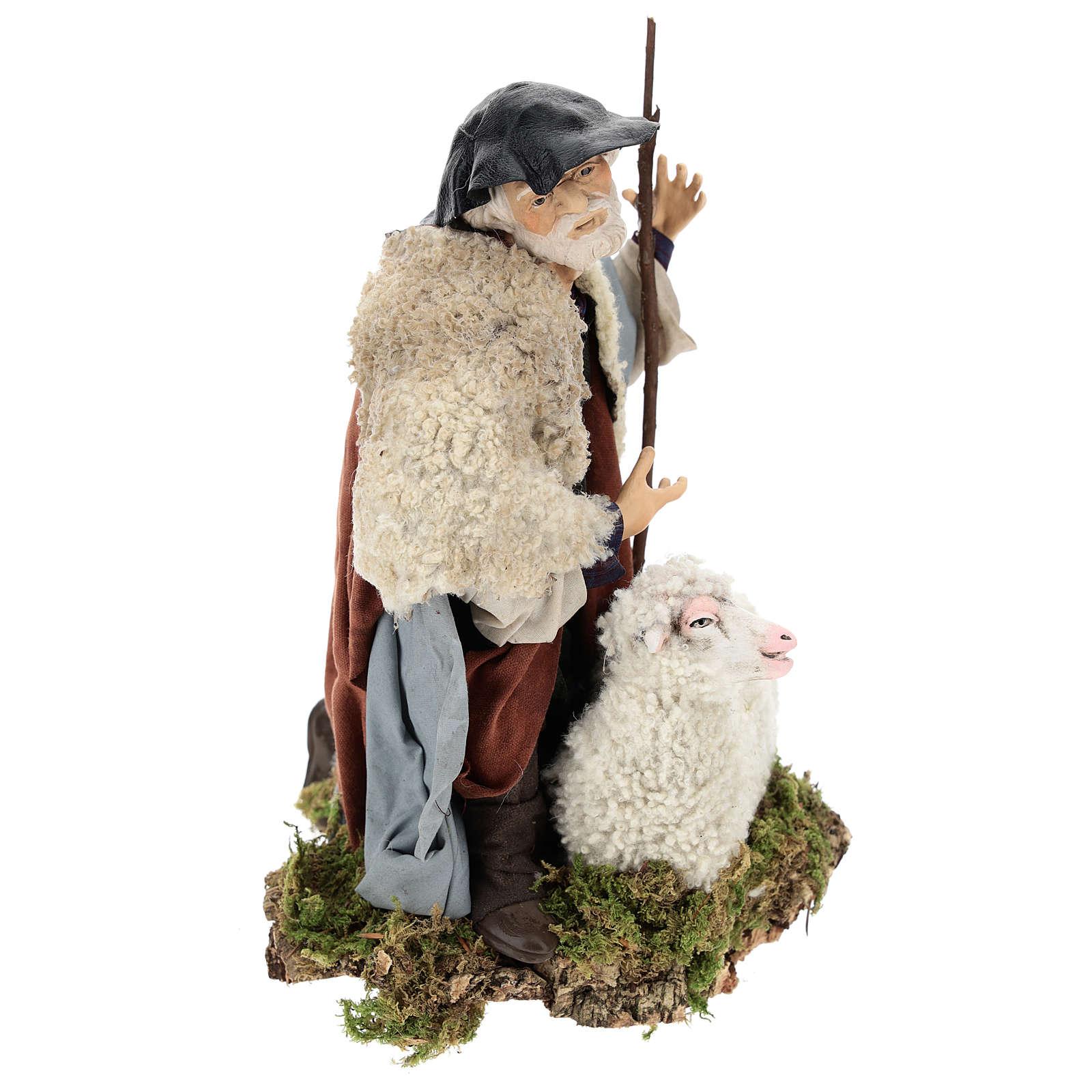 Man with sheep for Neapolitan nativity scene 35 cm 4