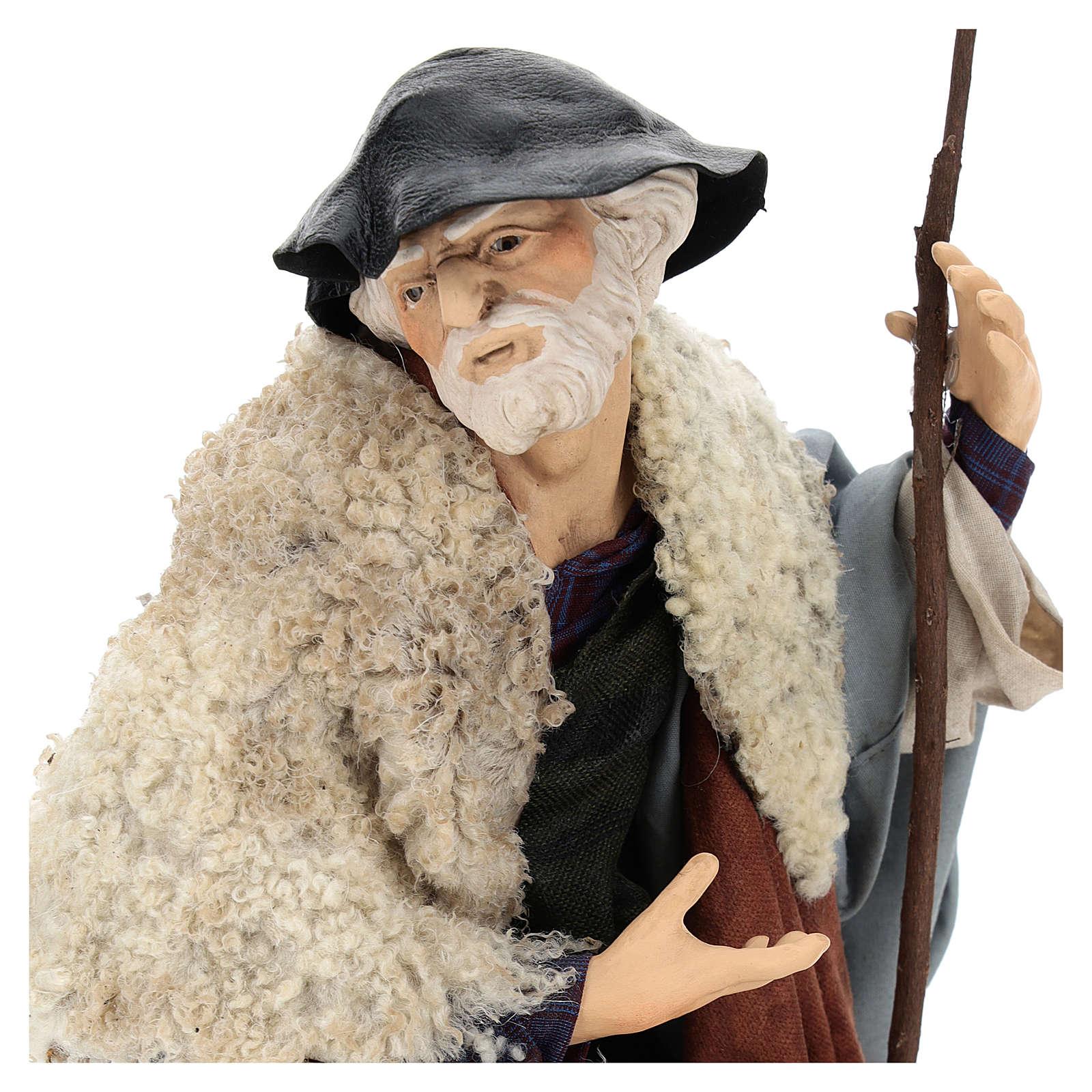Uomo con pecora per presepe napoletano stile 700 da 35 cm 4