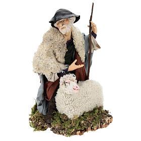 Uomo con pecora per presepe napoletano stile 700 da 35 cm s1