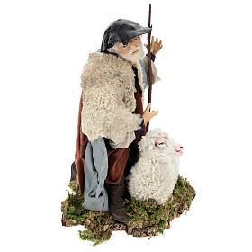 Uomo con pecora per presepe napoletano stile 700 da 35 cm s4