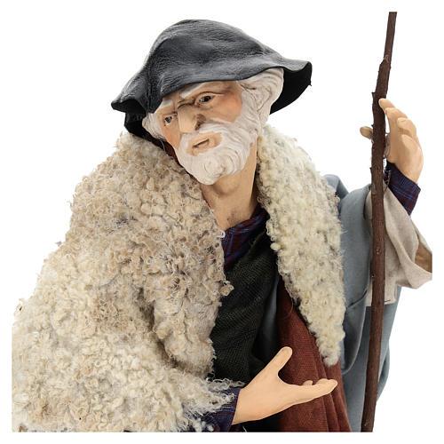 Uomo con pecora per presepe napoletano stile 700 da 35 cm 2