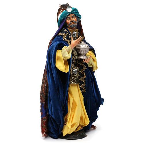 Re magio con dono in terracotta per presepe Napoli da 35 cm 4
