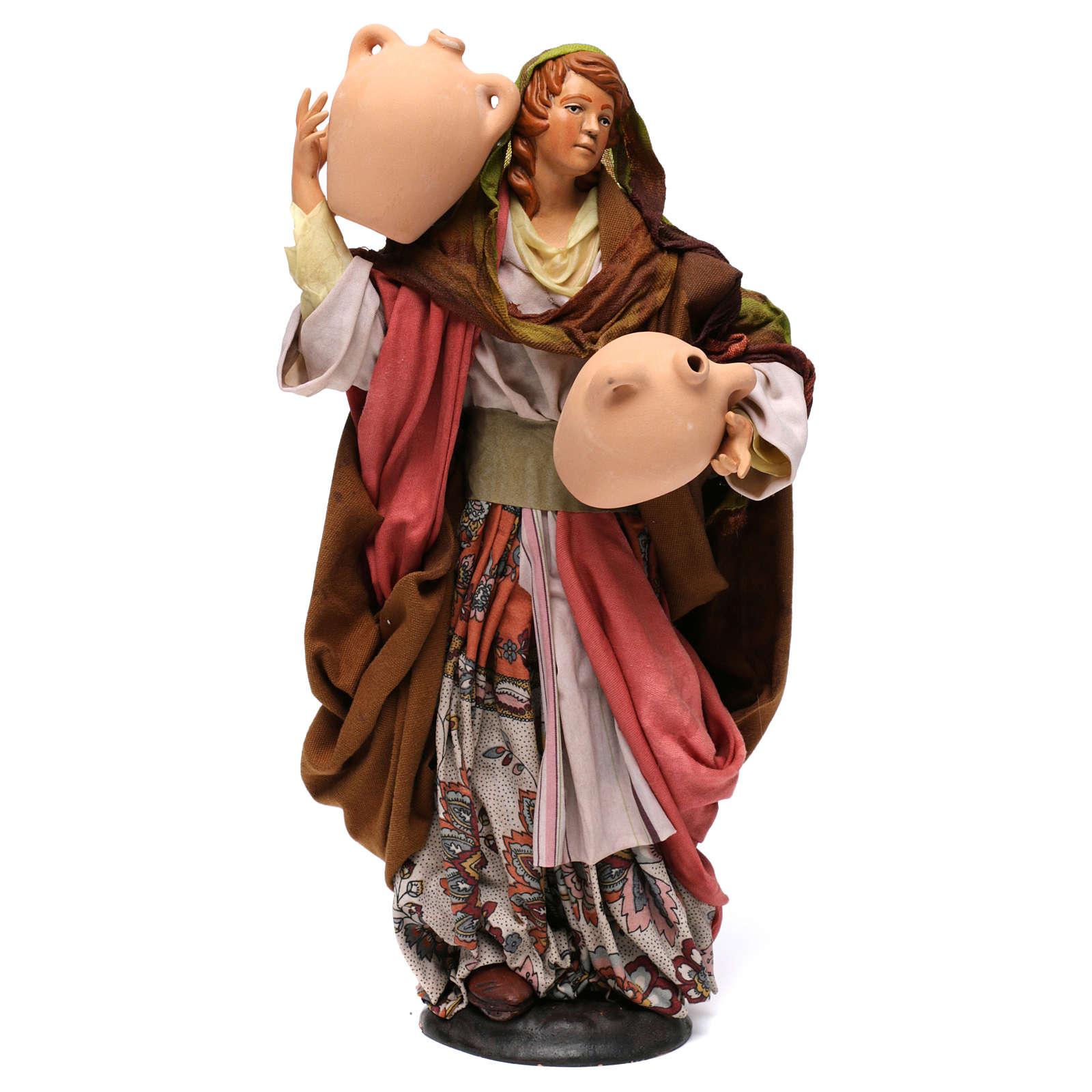 Donna con anfore in terracotta per presepe Napoli stile '700 di 35 cm 4