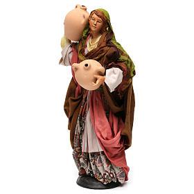 Donna con anfore in terracotta per presepe Napoli stile '700 di 35 cm s3