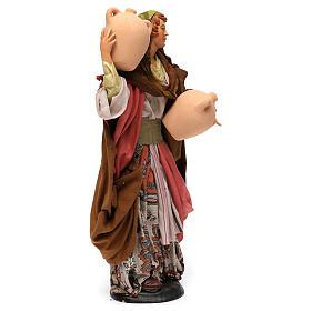 Donna con anfore in terracotta per presepe Napoli stile '700 di 35 cm s4