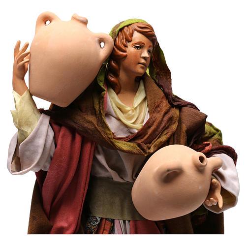 Donna con anfore in terracotta per presepe Napoli stile '700 di 35 cm 2