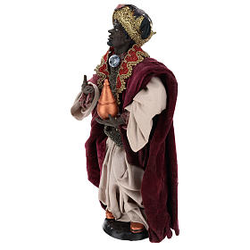 Standing dark-skinned king (Magi) for Neapolitan nativity scene 35 cm s3