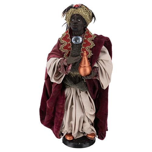 Standing dark-skinned king (Magi) for Neapolitan nativity scene 35 cm 1