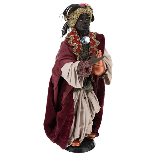 Standing dark-skinned king (Magi) for Neapolitan nativity scene 35 cm 4
