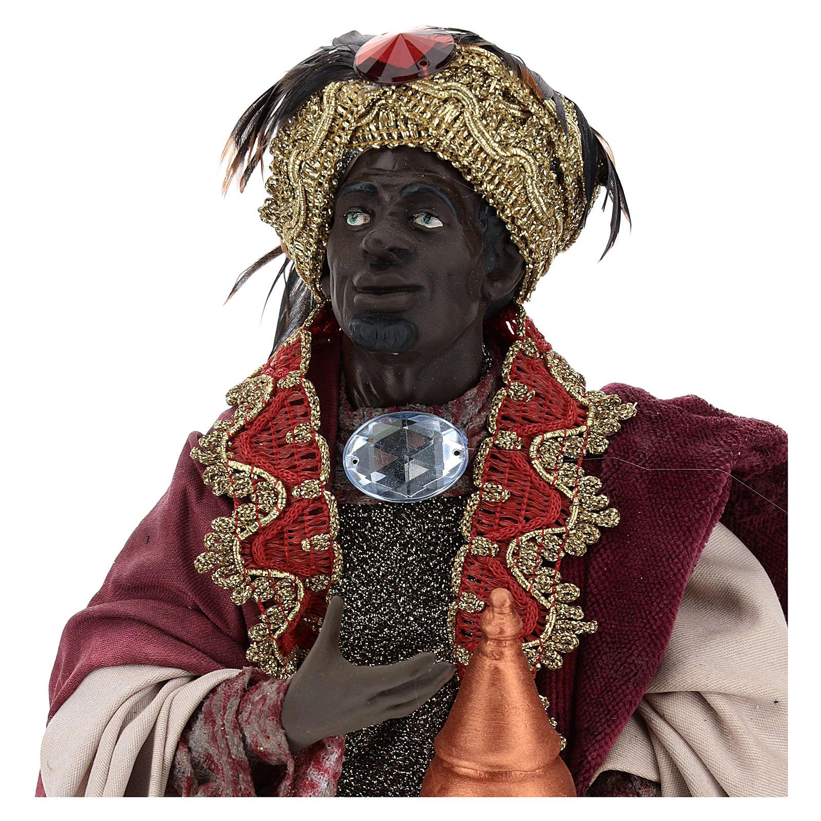 Re magio moro in piedi per presepe Napoli stile 700 di 35 cm 4