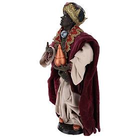 Re magio moro in piedi per presepe Napoli stile 700 di 35 cm s3