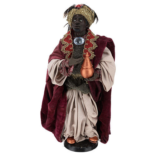 Re magio moro in piedi per presepe Napoli stile 700 di 35 cm 1