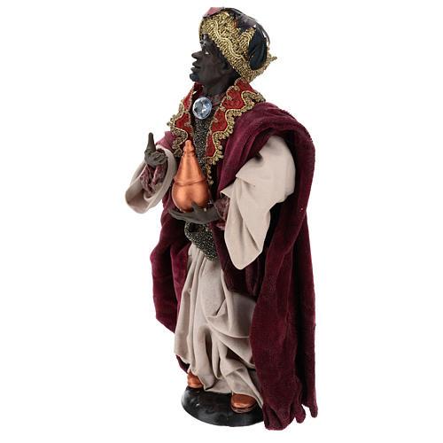 Re magio moro in piedi per presepe Napoli stile 700 di 35 cm 3